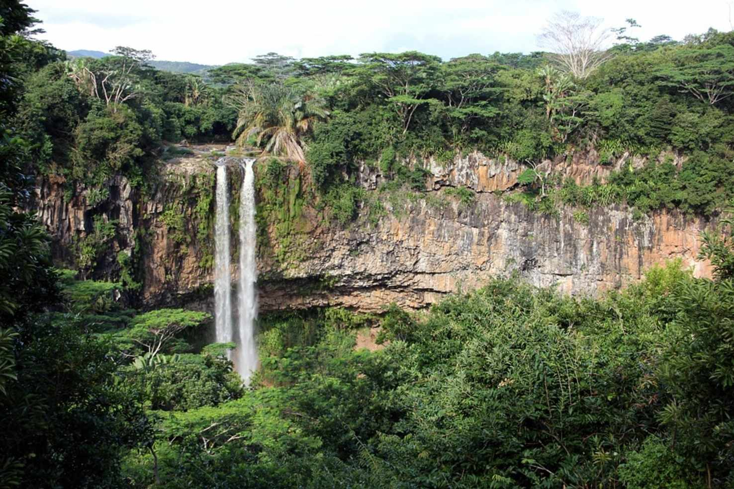 Large tropical waterfall landscape mauritius green