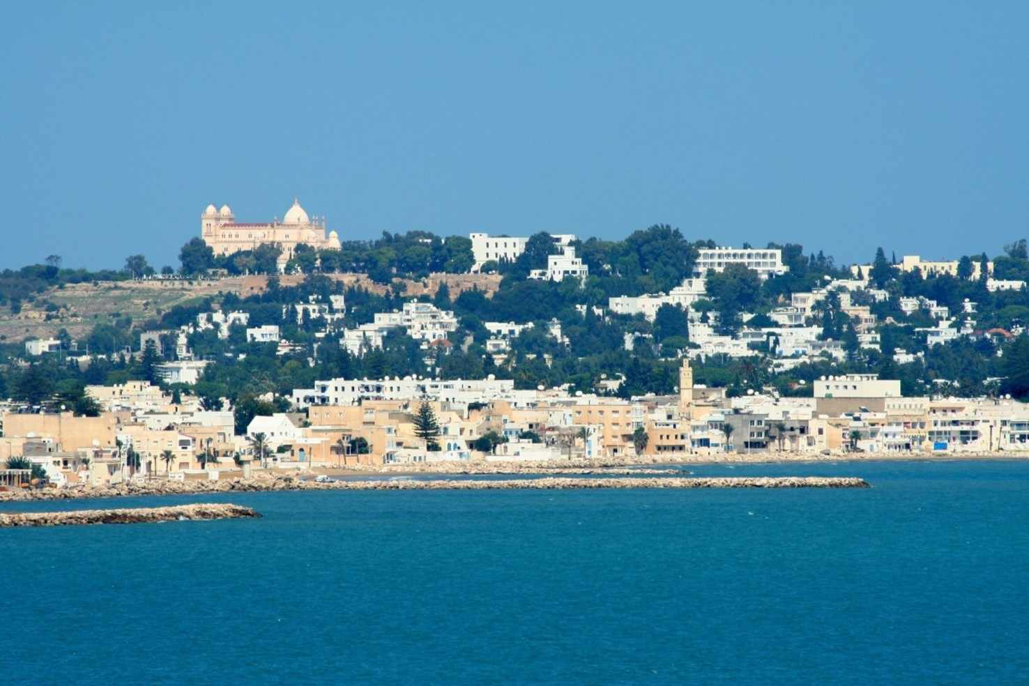 Large holiday sea mediterranean beach rocky coast outlook tunis arabic