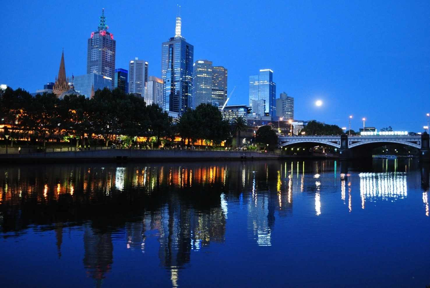 Large melbourne skyline at dusk