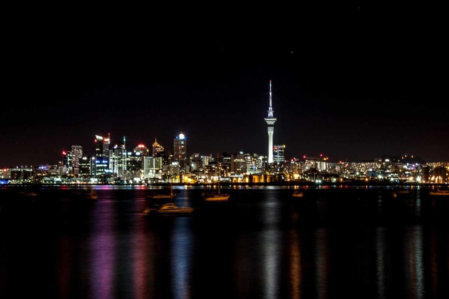 Large night auckland new zealand city