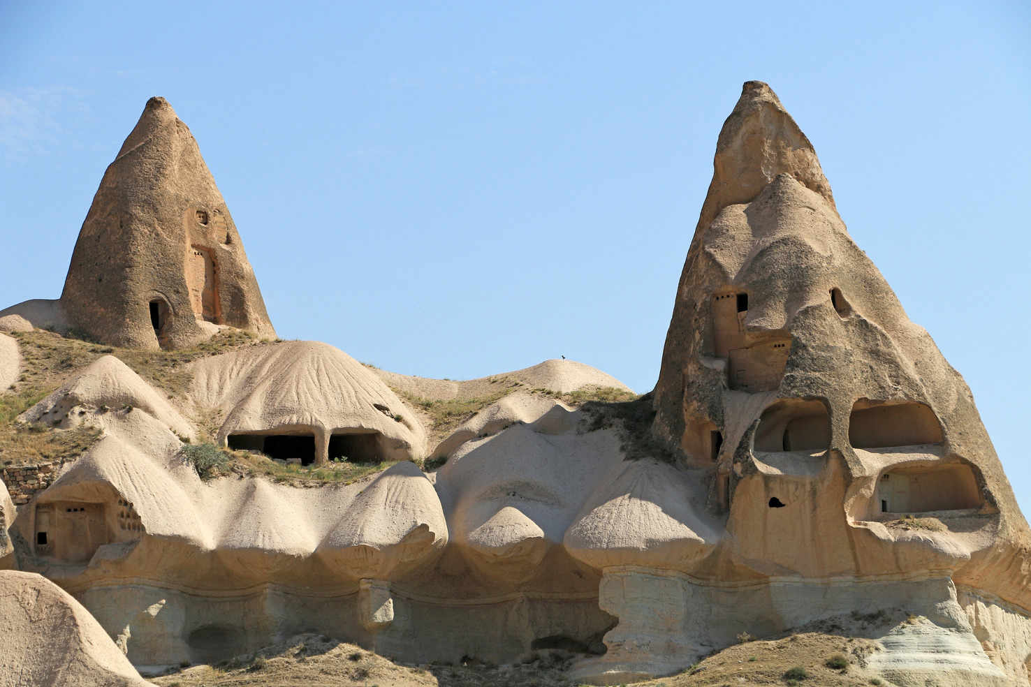 Large chimney and houses in cappadocia turkey