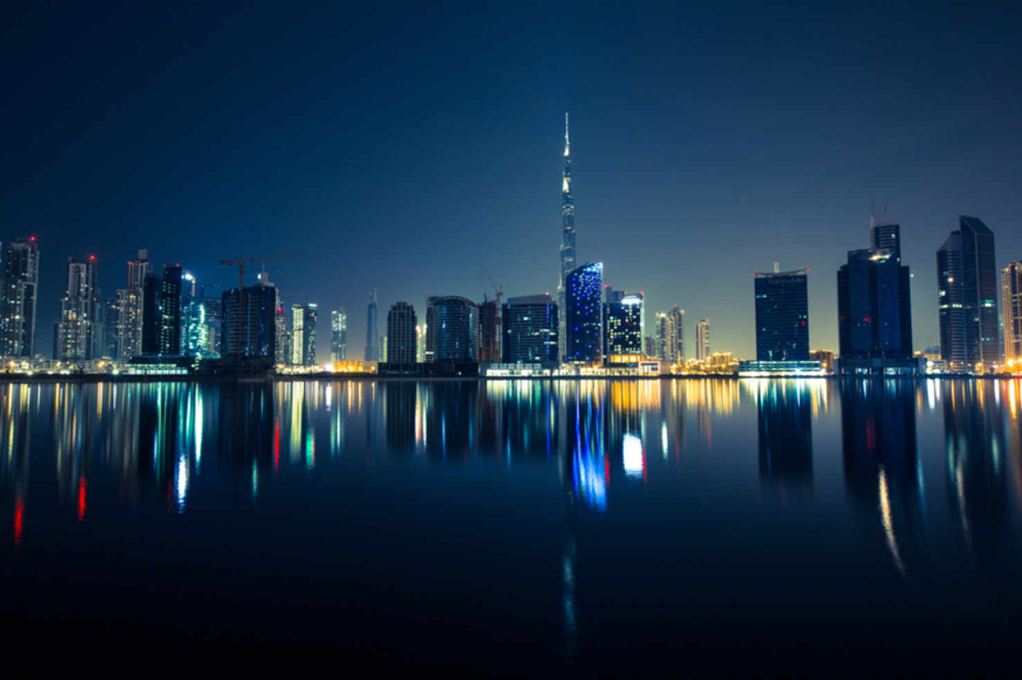 Large night skyline dubai united arab emirates uae