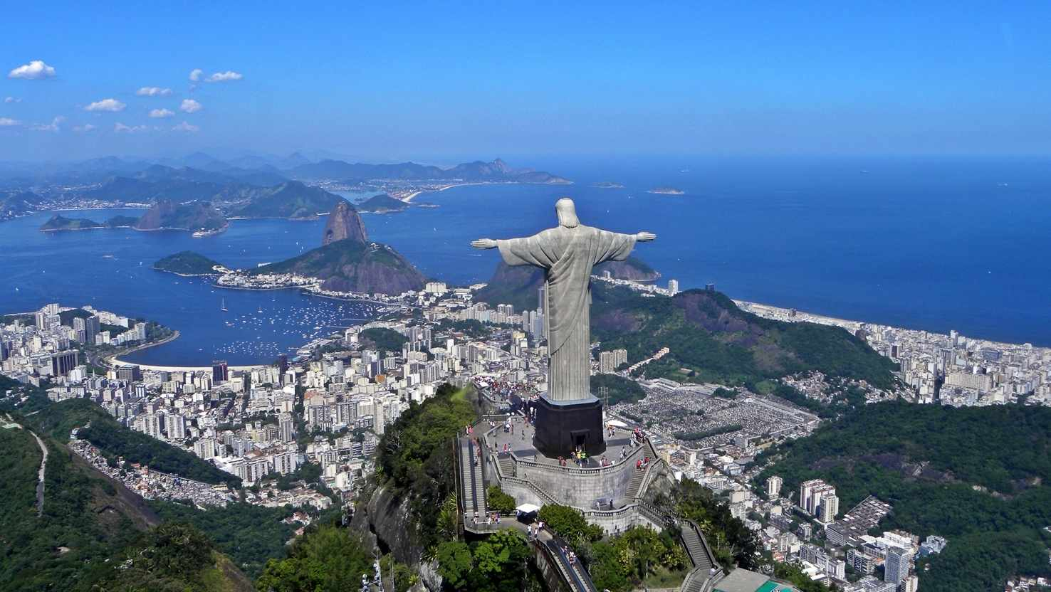 Large christ on corcovado mountain