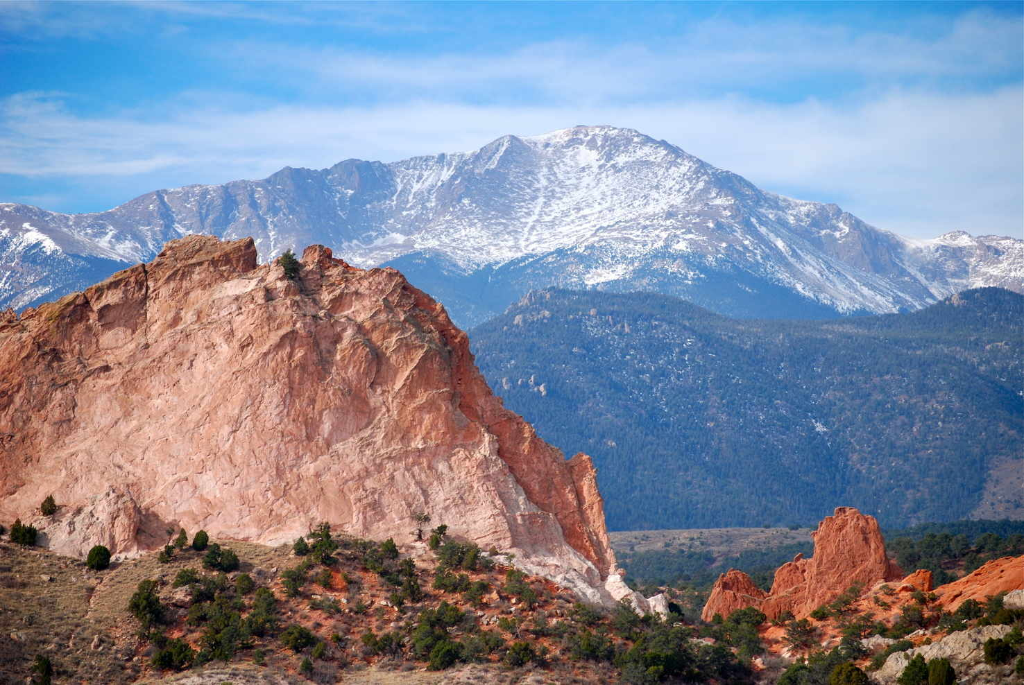 Large pikes peak from garden of the gods