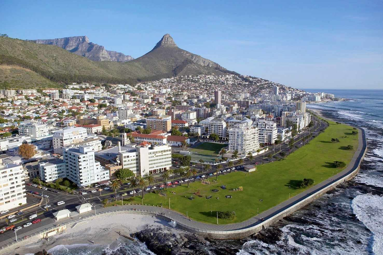 Large aerial view of sea point  cape town south africa