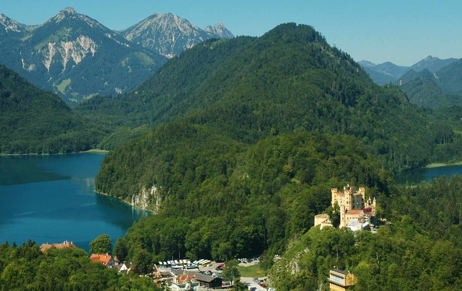 Large hohenschwangau castle and village