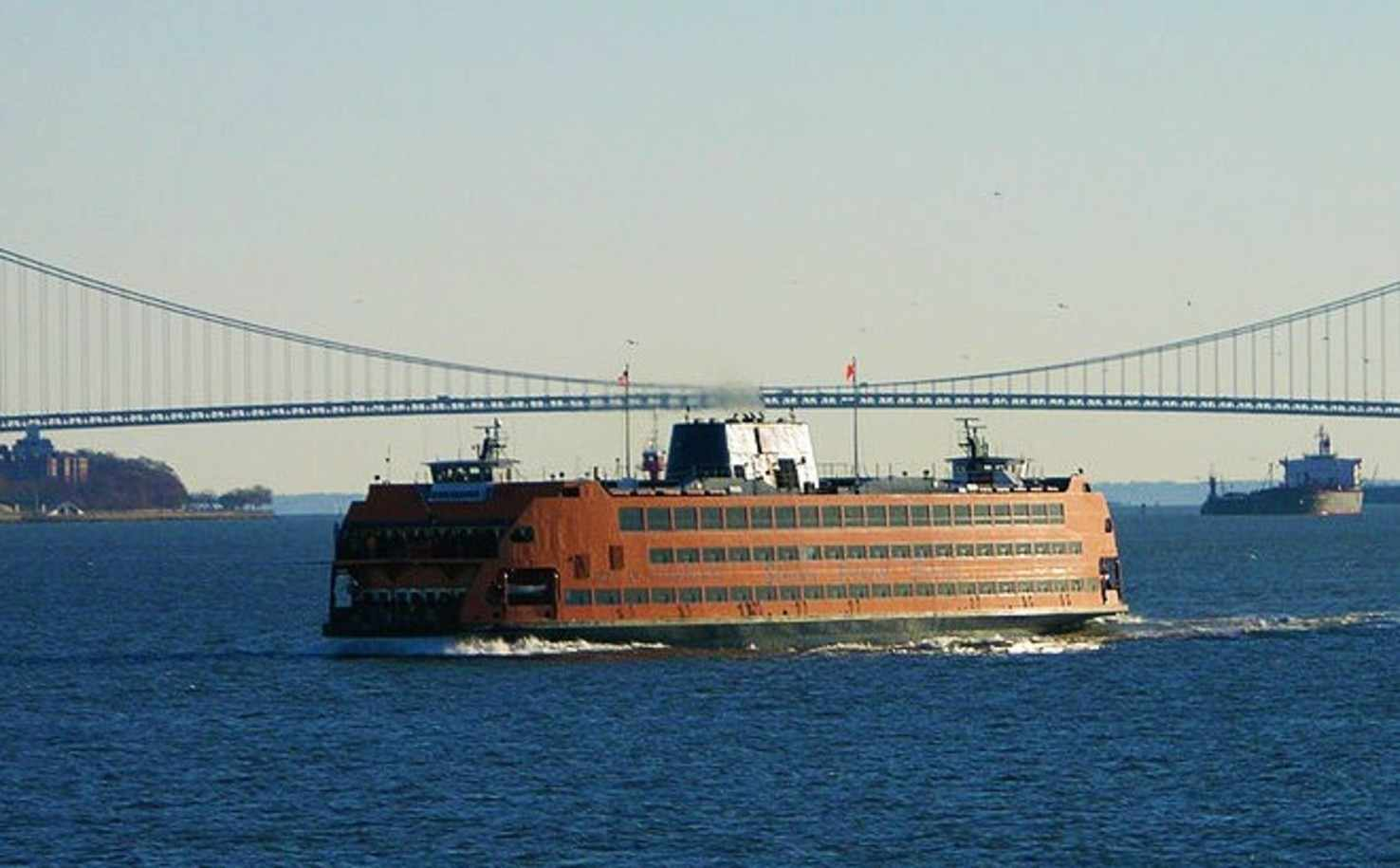 Large verrazano narrows bridge from ferry