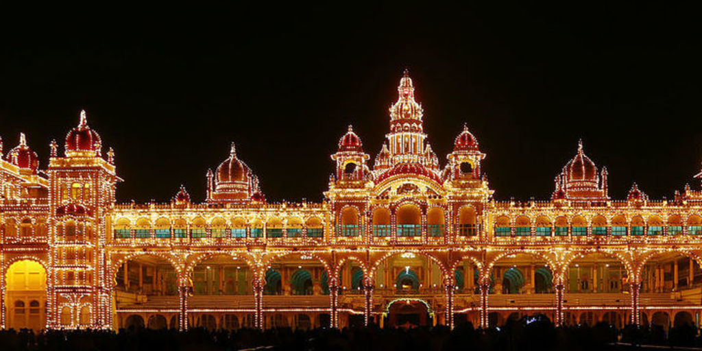 Large mysore palace illuminated