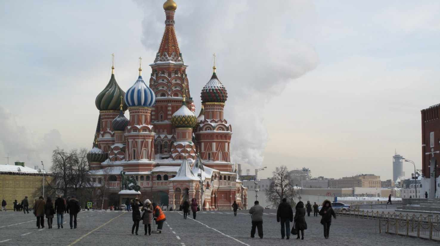 Large the cathedral saint basile russia moscow red square
