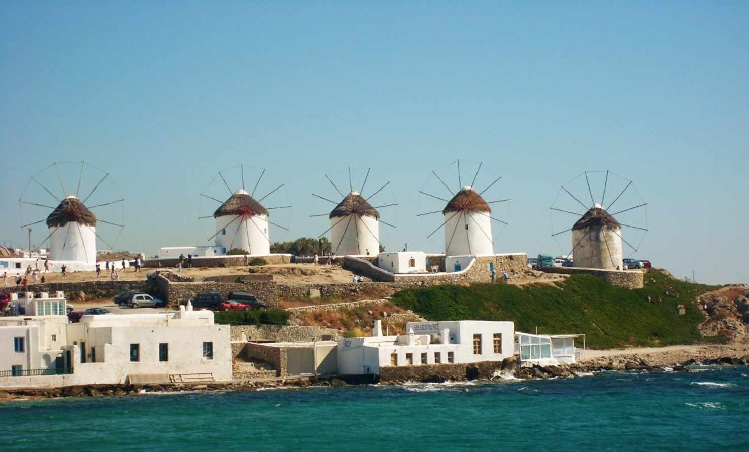 Large mill sea cyclades mykonos mediterranean holiday greece travel